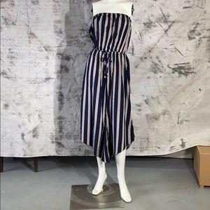 Kersh strapless navy striped jumpsuit -large